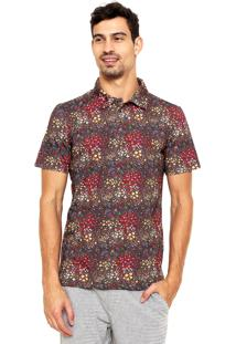 Camisa Polo Reserva Floral Marrom