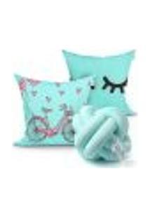 Kit Capa Almofada Decorativa Tiffany Para Sala Ou Quarto Kit 2 Capas 45Cm X 45Cm + Almofada Nó Escandinavo