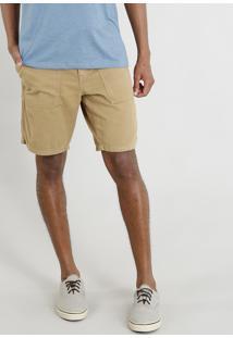 Bermuda De Sarja Masculina Com Cordão E Bolsos Kaki