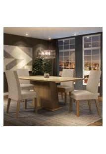 Conjunto Sala De Jantar Madesa Sabrina Mesa Tampo De Vidro Com 4 Cadeiras - Rustic/Crema/Imperial Marrom