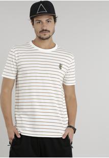 Camiseta Masculina Listrada Com Bordado Cactos Manga Curta Gola Careca Off White