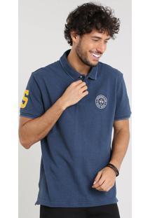 Polo Masculina Texturizada Com Bordado Manga Curta Azul