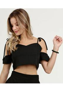 Blusa Feminina Cropped Open Shoulder Marisa