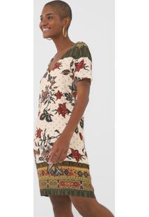 Vestido Desigual Curto Hilier Bege/Verde - Kanui