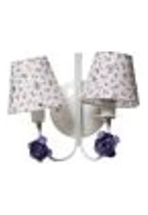Arandela 2 Lâmpadas Flores Lilás Quarto Bebê Infantil - Bivolt