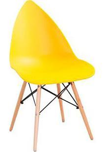 Cadeira Pingo- Amarela & Marrom Claro- 88,5X50X55Cm