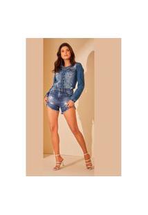 Jaqueta Jeans Lee America Puídos Azul Tam. G