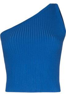 Materiel Blusa Ombro Único De Tricô - Azul