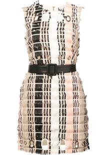 Self-Portrait Vestido Color Block - Branco
