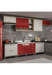 Cozinha Completa Sem Tampo 10 Portas 5800 Argila/Branco/Vermelho - Multimóveis