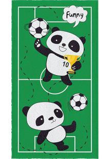 Toalha De Banho Felpuda Panda- Verde & Branca- 60X11Lepper