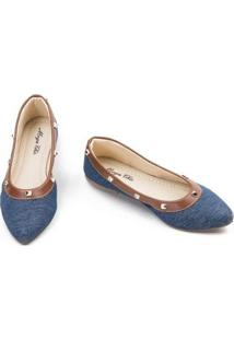 Sapatilha Megachic Jeans Spike Feminina - Feminino-Azul