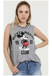 Blusa Feminina Estampa Frontal Mickey Sem Manga Disney