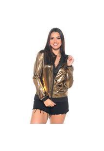 Jaqueta Bomber M&A Modas Metalizada Dourada
