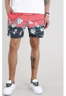 Short Masculino Estampado Floral Com Bolsos Coral