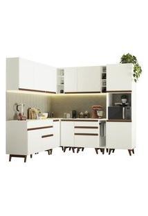 Cozinha Completa De Canto Madesa Reims 437001 Com Armário E Balcão Branco Cor:Branco
