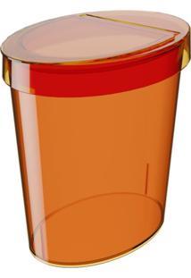 Lixeira Oval Glass 5 Litros Tangerina