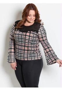 Blusa Com Transparência Plus Size Xadrez
