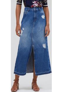 Saia Jeans Longa Com Fenda E Puídos