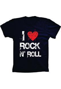 Camiseta Baby Look Lu Geek I Love Rock Azul Marinho