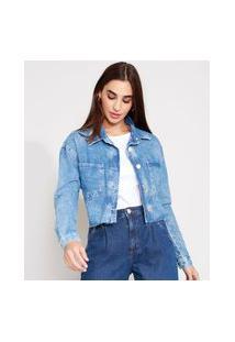 Jaqueta Cropped Jeans Com Barra Desfiada Azul Médio