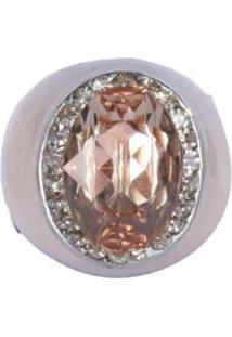 Anel Armazem Rr Bijoux Resinado Pedra Feminino - Feminino-Rosa