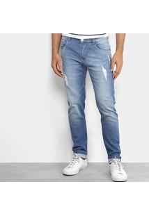 Calça Jeans Skinny Rock Blue Lavagem Média Masculina - Masculino-Jeans