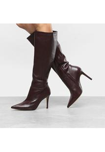 Bota Couro Cano Longo Shoestock Salto Fino Feminina - Feminino-Vinho