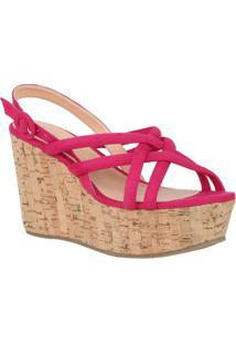 Sandália Plataforma Com Tiras Sobrepostas - Pink - Sluiza Barcelos