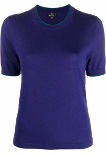 Ps Paul Smith Blusa Mangas Curtas Com Padronagem Trançada - Roxo