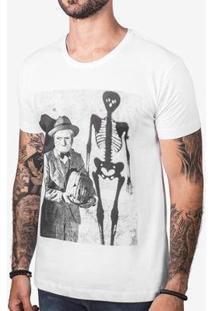 Camiseta Hermoso Compadre Velho Halloween Masculina - Masculino-Branco
