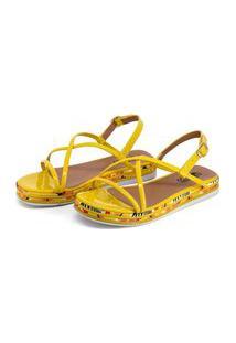 Sandália Plataforma Confort Amarela Com Tiras