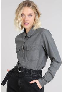 Camisa Jeans Feminina Mindset Com Bolsos Manga Longa Preta