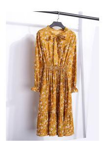 Vestido Madrid Vintage - Amarelo Escuro Com Flores