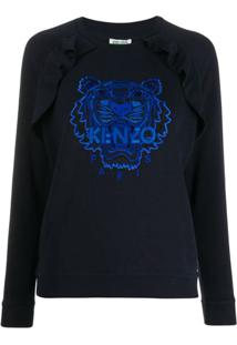 Kenzo Blusa Com Logo Bordado - Azul