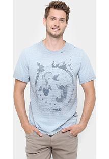 Camiseta Triton Gola Tinturada Listras Finas Carpas - Masculino-Azul Claro