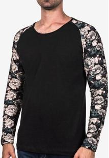 Camiseta Hermoso Compadre Manga Estampada Petróleo - Masculino