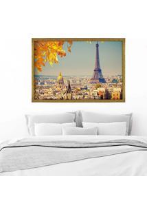 Quadro Love Decor Com Moldura Outono Em Paris Dourado Médio
