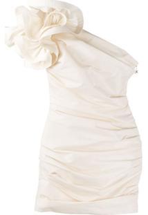 Elisabetta Franchi Vestido Ombro Único Com Franzido - Neutro