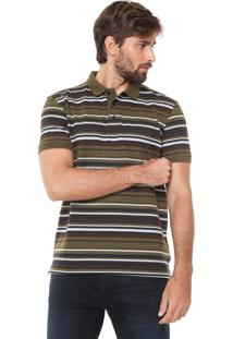Camisa Polo Ellus Reta Listras Verde/Marrom