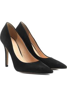 Scarpin Couro Shoestock Salto Alto Nobuck - Feminino-Preto