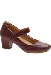 Scarpin Couro Amora Doctor Shoes Feminino - Feminino-Vinho