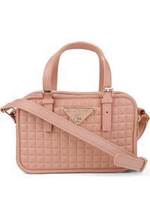 Bolsa Giulia Bardô Transversal Quadriculada Mini Bag Feminina - Feminino-Bege