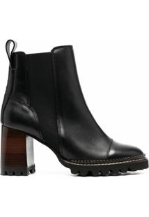 See By Chloé Ankle Boot Com Salto Bloco - Preto