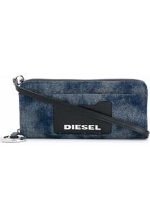Diesel Carteira Jeans Allium Com Zíper - Azul