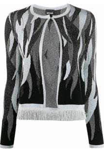Just Cavalli Cardigan Com Padronagem Abstrata - Preto