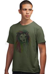 Camiseta Artseries Leão Colors Verde