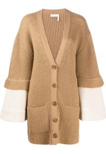 See By Chloé Long Sleeve Ribbed Knit Cardigan - Marrom
