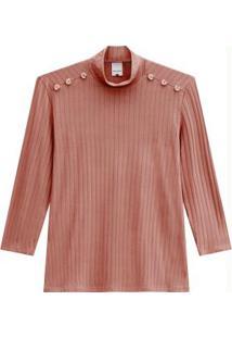 Blusa Rosa Canelada Com Botões
