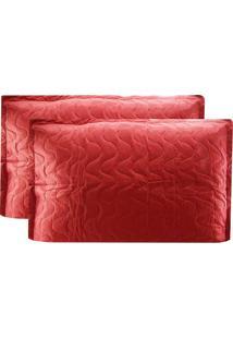 Porta Travesseiro Copacabana 160 Fios 100% Algodão - Kacyumara Vermelho